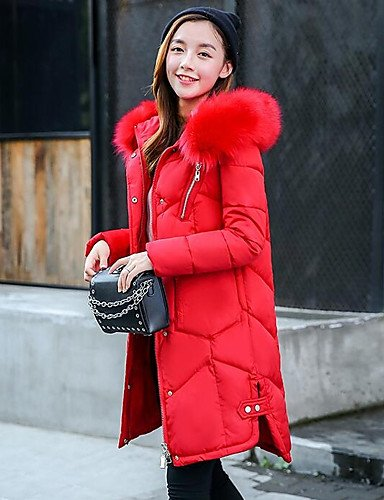 Sleeves Polypropylene ZHUDJ 2XL Long Down Red Daily Going Polyester Casual Coat Solid Out Simple Women'S 7RFvw7xHqa