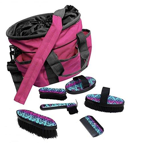 Showman 6 Piece Navajo Print Grooming Kit with Nylon Cordura Carrying Bag (Pink & Teal)