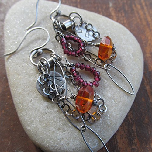 Dangling Earrings in Silver with Burgundy and Orange Gemstones and Charms- Diana Anton Jewelry Design