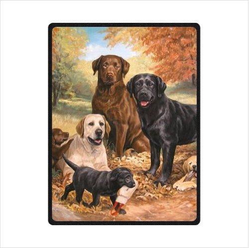 - Cute Labrador Retriever Dog Fleece Blankets Throws 58 x 80 inches(Large)