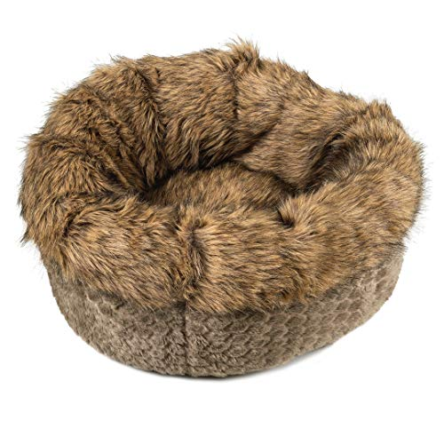 Bed Donut Dog Luxury (Luxury faux fur round dog or cat donut cuddler bed for small pets. Plush and well cushioned, quality filling ,warm.High sides provide orthopedic support , Fully washable,zippered insert,non slip base)