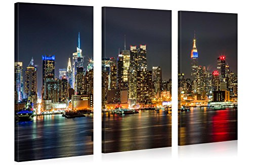 Large Canvas Print Wall Art – MANHATTAN NIGHT LIGHTS – 48x30 in (3 pcs) New York Cityscape Canvas Picture Stretched On Wooden Frame – Giclee Canvas Printing – Hanging Wall Deco (Iii Stretched Canvas)
