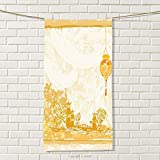 smallbeefly Lantern Travel Towel Old Paper with Ancient Japanese Buildings Depicted on Asian Retro Style Samurai 100% Microfiber Light Yellow Size: W 27.5'' x L 56''
