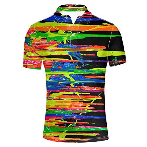 (HUGS IDEA Men's Polos Shirts Graffiti Striped Tshirt Fashion Comfortable Short Sleeves)