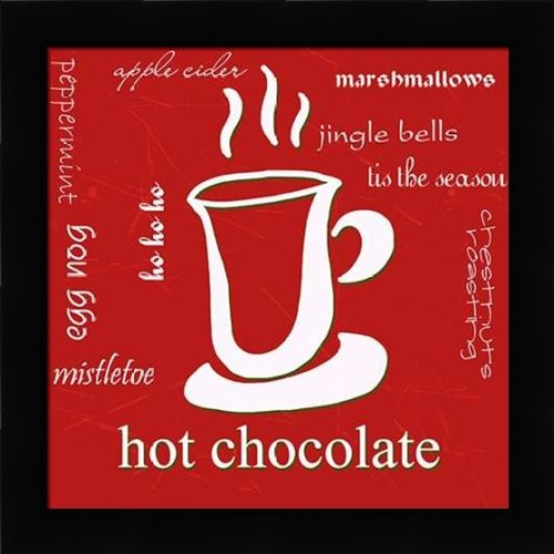 Hot Chocolate - Framed Art Print - 18x18 Fine Art Print by Quach, Anna in Studio Black Picture Frame - Food Kitchen Holidays Seasons Rusty Cocoa