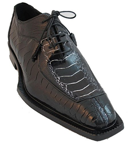Mauri Hombres Ostich Leg Lace Up Dressy Shoes Negro
