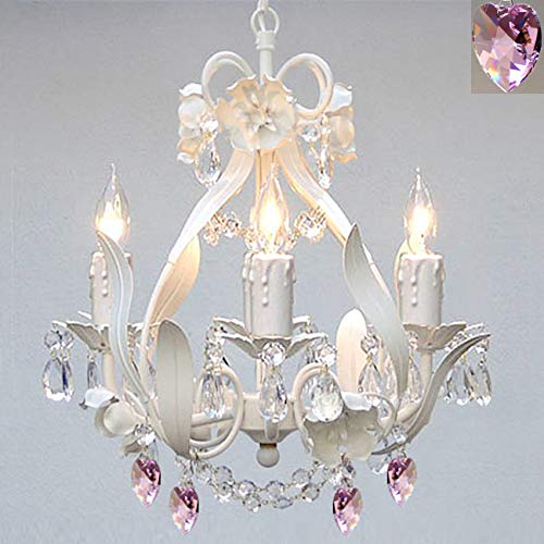 - Wrought Iron Crystal Chandelier Lighting with Pink Hearts Country French White, 4 Lights, Ceiling Fixture