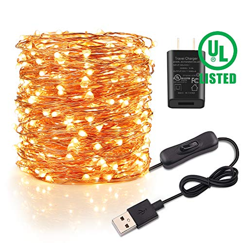 Speclux 66 Ft 200LEDs Waterproof Starry Fairy Copper String Lights, USB Adapter Powered (Included), for Indoor Outdoor Patio Party Decoration, Warm (Best String Lights With Powered Adapters)
