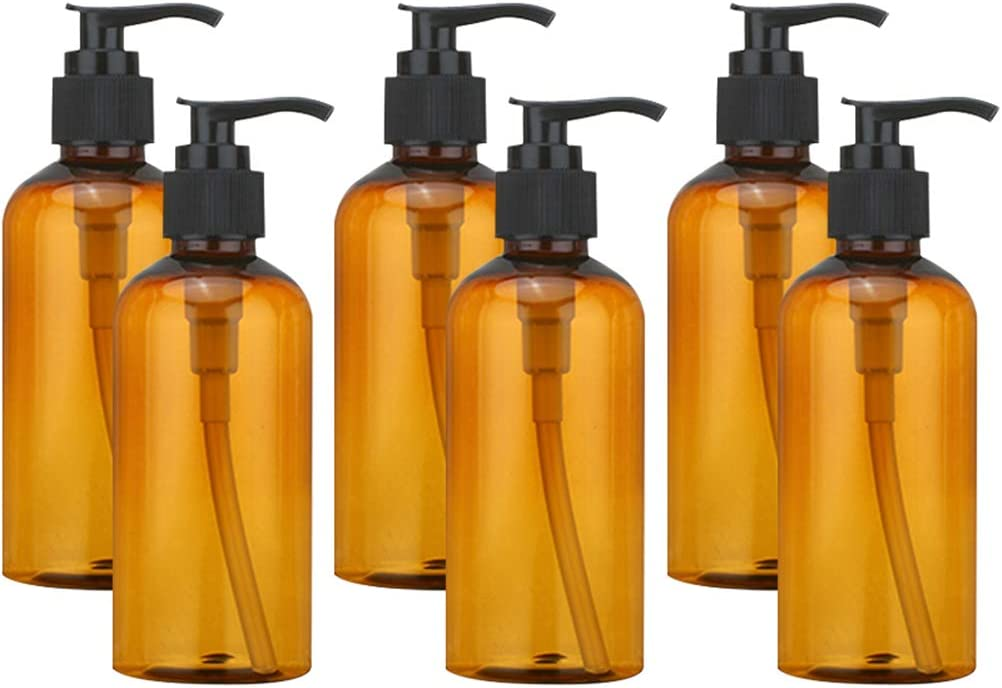 6 botellas de plástico vacías de 100 ml con dispensador de loción, botellas marrones y bomba de loción negra Travel Business Trips Lotion Gel de ducha, vacías