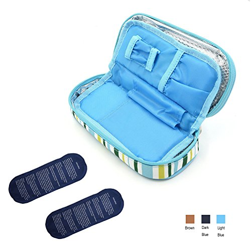 TAWA Insulin Cooler Travel Case Diabetic Medication Cooler with 2 Ice Pack and Insulation Liner Working Time up to 10 Hours(Light Blue) by TAWA