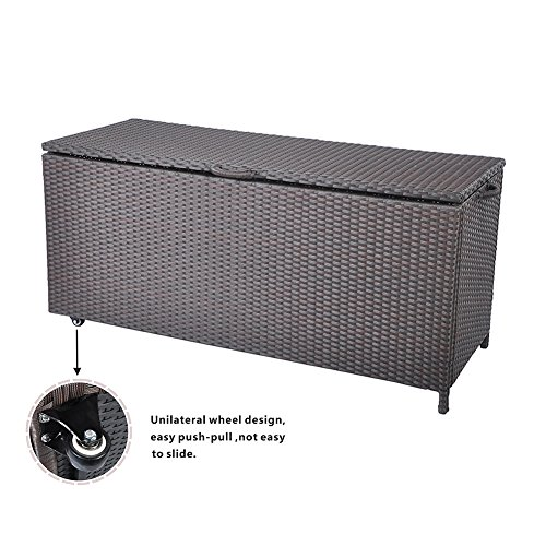Outdoor Patio Wicker Storage Container Deck Box made of Antirust Aluminum Frames and Resin Rattan, 20-Gallon (Brown) (Large, Brown) by Babylon (Image #4)