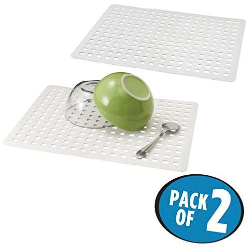 White Sink Mat - mDesign Kitchen Sink Protector Mat - Pack of 2, Large, White
