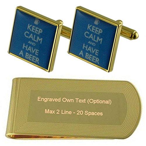 Engraved Set Money Drinking Gift tone Beer Gold Clip Cufflinks BUw1CqaT
