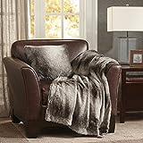 Madison Park Serengeti Luxury Faux Fur Accent Throw Pillow, Premium Animal Square Decorative Pillow, 20X20, Grey