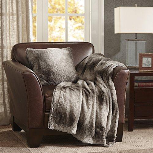 Madison Park Serengeti Luxury Faux Fur Accent Throw Pillow, Premium Animal Square Decorative Pillow, 20X20, Grey by Madison Park