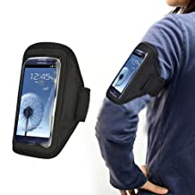 Xtra-Funky Exclusive High Quality Comfortable Universal Soft Neoprene Gym Sports Exercise Armband Holder Case With Adjustable Velcro Strap And Clear Plastic Front Shield For Most Mobile Devices (See Product Page For Compatibility List) -- BLACK