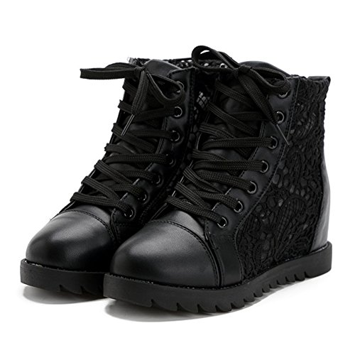 Giy Scarpe Da Donna Moda Pizzo Alto Top Punta Rotonda Scarpe Sneakers Piattaforma Altezza Maggiore Scarpe Sportive Casual Nero