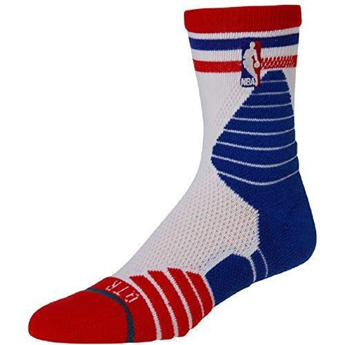 Mens 3 Stripe Quarter Sock - STANCE Fusion Basketball 359 Quarter Thin Stripe Socks Red/White/Blue NBA Men's Small (3-5.5)