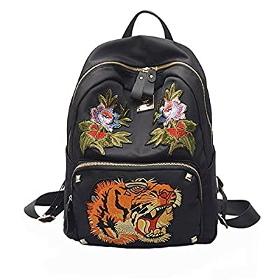 good Ciel Infini Women's Fashion Daypack Black Embroidery Compacious Canvas Rucksack