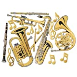 Beistle 55567 Gold Foil Musical Instrument Cutouts, 15 per Package, Gold/Black/Silver