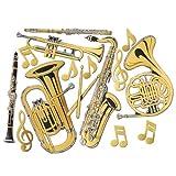 Musical Instruments Best Deals - Beistle 55567 Gold Foil Musical Instrument Cutouts, 15 per Package, Gold/Black/Silver