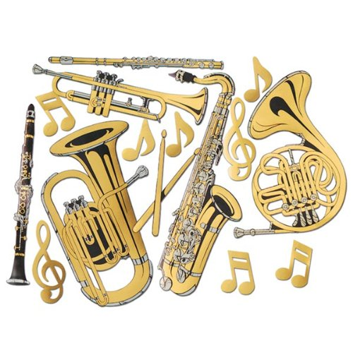 [Gold Foil Musical Instrument Cutouts (15/Pkg)] (Music Party Decorations)