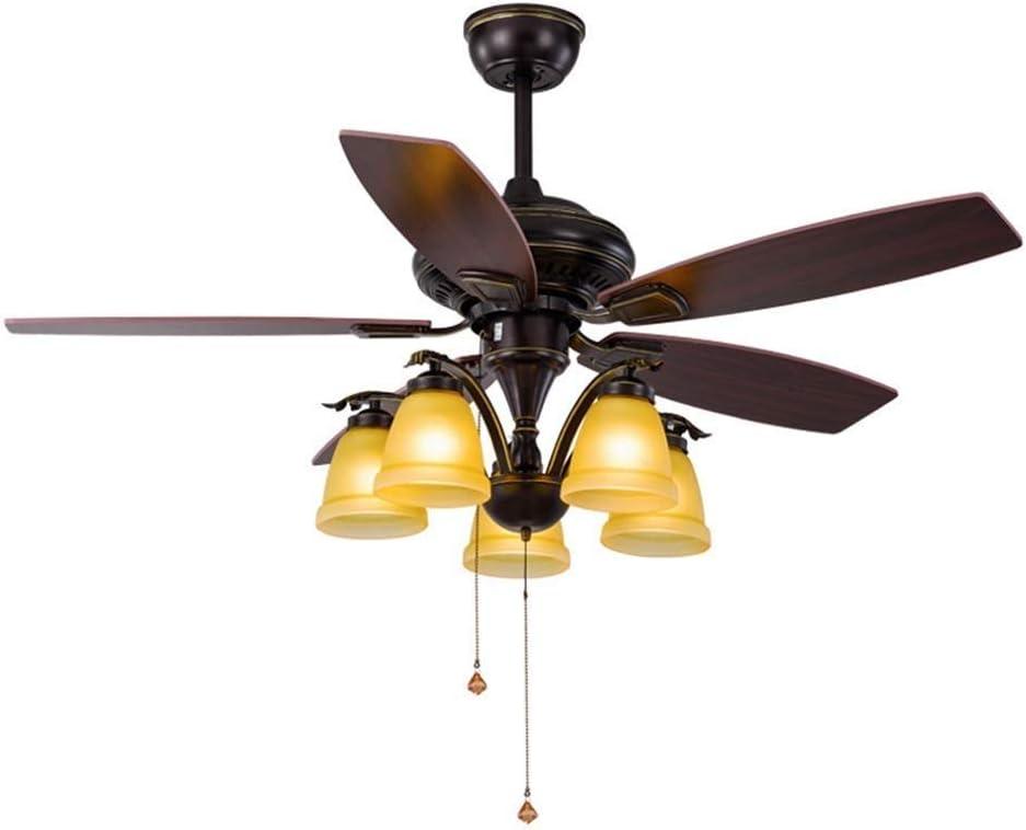Luz de Ventilador de Techo Medieval Lámpara de Ventilador Led Vintage Tradicional Lámpara de Techo con Control Remoto para Sala de Estar Dormitorio Restaurante Sala de Estudio, C-L, 5 light