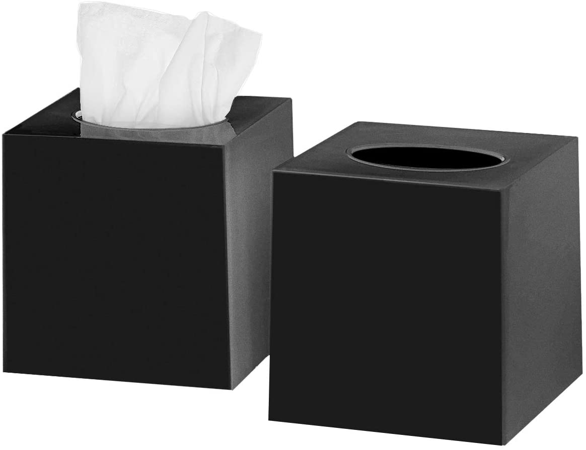 DWËLLZA HOMË Tissue Box Cover Square - Facial Cube Tissue Box Holder Case Dispenser for Bathroom Vanity Countertop, Bedroom Dresser, Office Desk or Night Stand Table, 2 Pack - Black