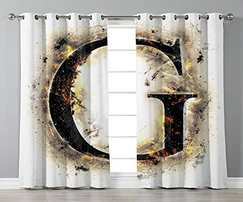 Satin Grommet Window Curtains,Letter G,Abstract Blaze Alphabet Design Fire Flame Burnt Capital Symbol Paper Effect,Tan Black Yellow,2 Panel Set Window Drapes,for Living Room Bedroom Kitchen Cafe ()