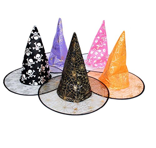 [XUANOU 1Pcs Cap,Adult Womens Witch Hat With Random Pattern For Halloween party] (Bell Boy Hat Costume)