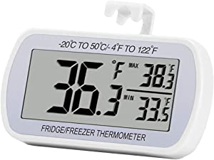 Refrigerator Thermometer Digital Fridge Freeze Room Thermometer Waterproof Large LCD Display Max/Min Record Function, White