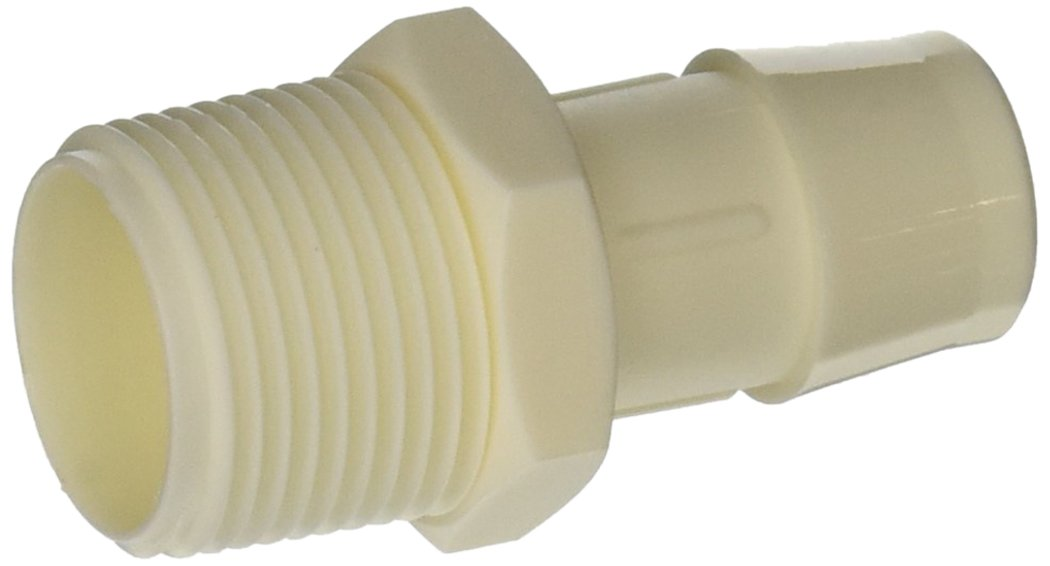 Eldon James A12-12WN White Nylon Adapter Fitting, 3/4-14 NPT to 3/4'' Hose Barb (Pack of 10)