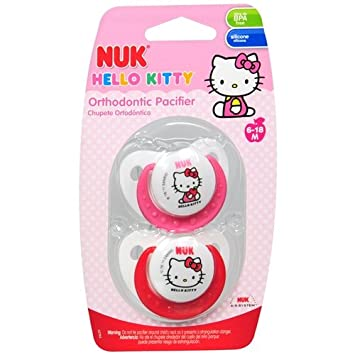 Amazon.com : NUK Hello Kitty Orthodontic Pacifier Sz2, Silicone 2 ea ...