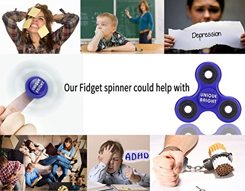 Fidget Spinner,UNIQUE BRIGHT High Speed Tri Fidget Hand Spinner,Stress Reducer Perfect Toy Hand Spinner Focus Toys, Stress Relief Toys Relieves Anxiety and Boredom for Kids & Adults (Tri-Black)