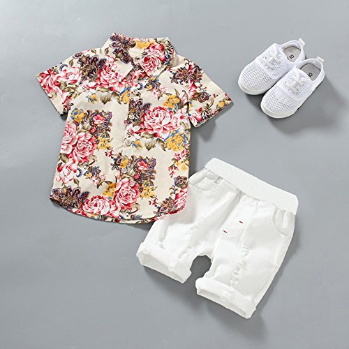 baca3524c8 Amazon.com: Winsummer Infant and Toddler Baby Boys Kids Hawaiian Button  Down Shirt and Ripped Shorts Clothing Set Gentleman: Clothing
