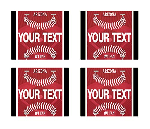 BRGiftShop Personalize Your Own Baseball Team Arizona Set of 4 Square Beverage Coasters
