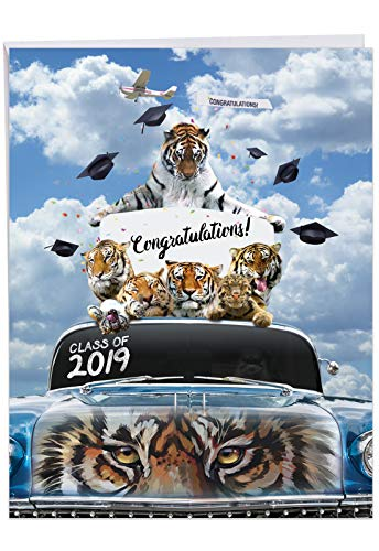 Tigers Mascot 2019 - Funny Graduation Greeting Card with Envelope (Big 8.5 x 11 Inch) - University, School Congratulations Card for Graduate - Zoo Tiger, Animal Stationery Notecard J6300GDG-19