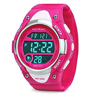 Girls Digital Watch - Kids Sports Waterproof Outdoor Watches with Alarm Stopwatch Youth Children LED Electronic Wristwatch - Rose Red from cofuo