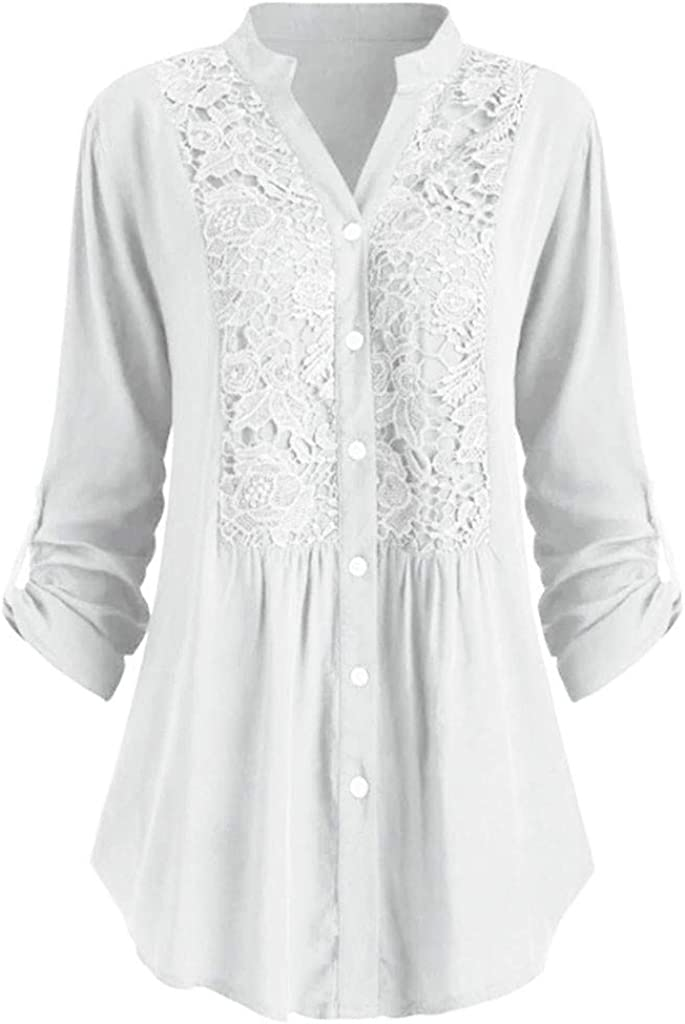 White,5XL POQOQ Tunic Top Women Plus Size Button Lace Embroidery V Neck Long Sleeve Blouse