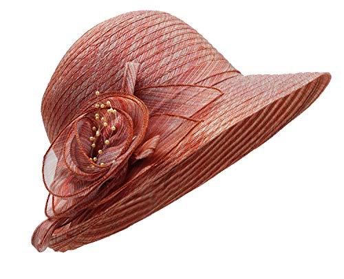 Bellady Women's Organza Wide Brim Flower Wedding Tea Party Hat Church Dress Sun Hat,WineRed