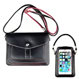 PU Leather Dual Straps Screen Pouch Cross-body Shoulder Bag Case Wallet Purse Carrying Sleeve for Apple iPhone...