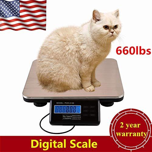 Digital Floor Bench Platform Scale Heavy Duty 660 Lb Digital Shipping Mailing Postal Scale 300 Kg Silver