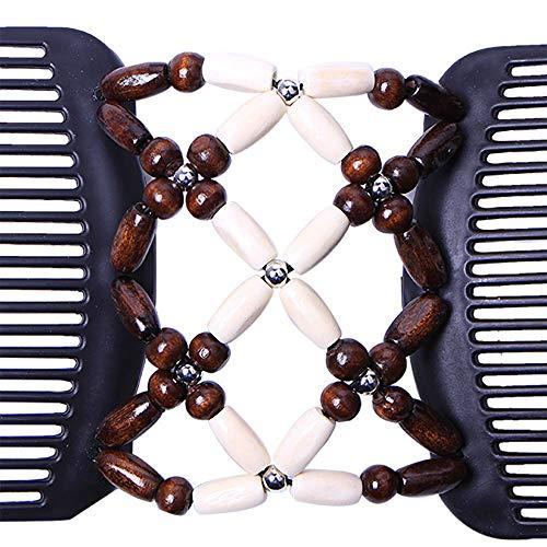 WIllsa Women Magic Acrylic Vintage Hair Comb Double Clips Imitation Wooden Hair Slide