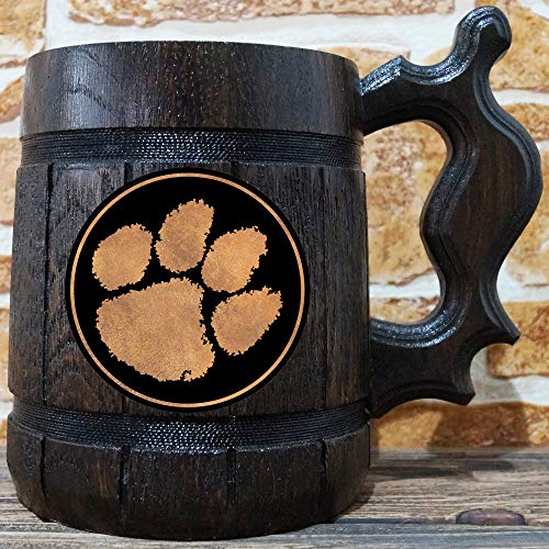 Tigers Personalized Football - Clemson Tigers Beer Mug, American Football Wooden Beer Stein, Sport Gift, Personalized Beer Stein, Clemson Tigers Tankard, Custom Gift for Men, Gift for Him