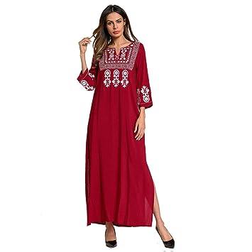 Cvbndfe Cómodo Vestidos Musulmanes del Medio Oriente Falda Larga Cuello Cuadrado Vestido de Estilo étnico Bordado Túnicas árabes Elegante (tamaño : XL): ...