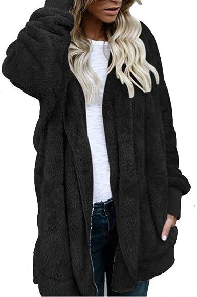 JUNMAONO Abrigo de algodón con Capucha para Mujer, de Lana cálida ...