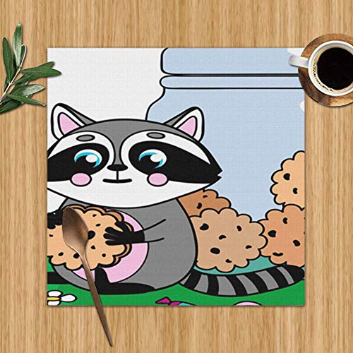 Little Cute Raccoon Cookies Paws Jar Wildlife The Arts Set Of 6 Placemats For Dining Table,Premium Reusable Place Mates,Plastic Placemats,Wipe Clean Placemats,Comic Place Mat,Dining Placemats(12 X 12 (Jar Raccoon Cookie)