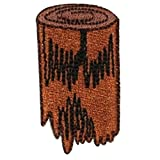 ID 0570B Camp Fire Wood Patch Stump Logs Scout Embroidered Iron On Applique