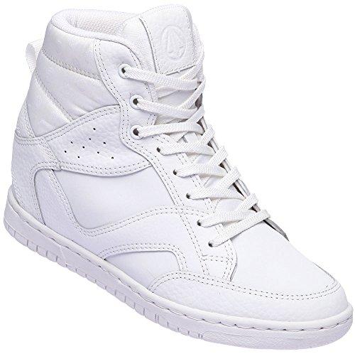 Paperplanes-1332 Vrouwen Casual Hogere Binnenzool Hoge Top Veters Sneakers Witte Schoenen