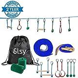 Slsy Ninja Line - Kit de Barra de Monos de 40 pies, Juego de Campos de obstáculos Colgantes para niños, Equipo de Entrenamiento Guerrero para Patio Trasero, Capacidad de 440 Libras